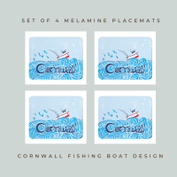 4 Cornwall Fishing Boat Placemats - Full Colour Melamine - Nautical Style