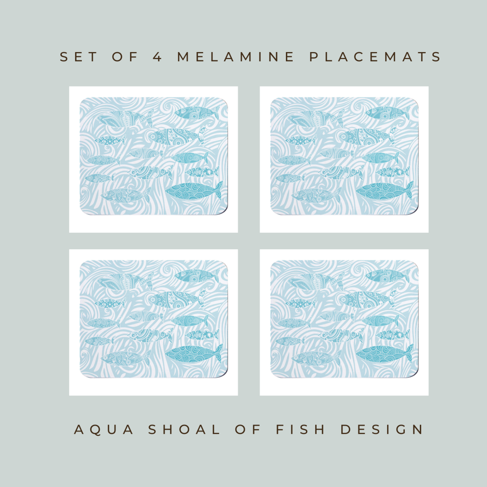 Set of 4 Placemats - Pale Shoal of Fish