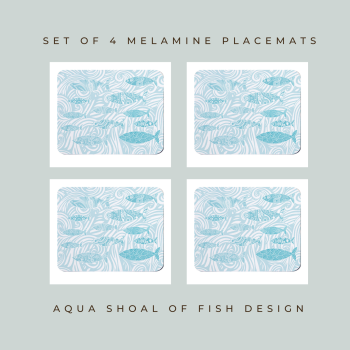 4 Shoal of Fish Placemats - Aqua Melamine - Coastal Style