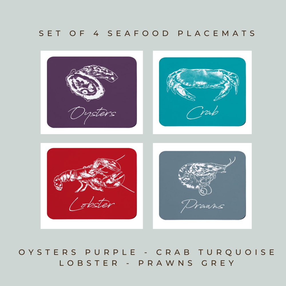 Set of 4 Placemats - Seafood Variety