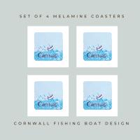 Set of 4 Coasters - Little Fishing Boat - Cornwall