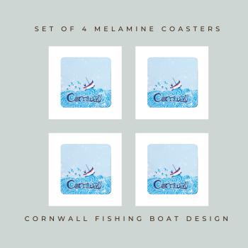 4 Cornwall Boat Coasters - Melamine - Cornish Vibes
