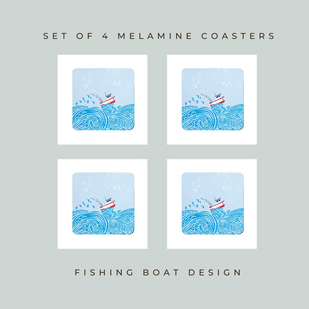 Set of 4 Coasters - Little Fishing Boat