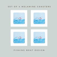 4 Fishing Boat Coasters - Melamine - Nautical Vibe