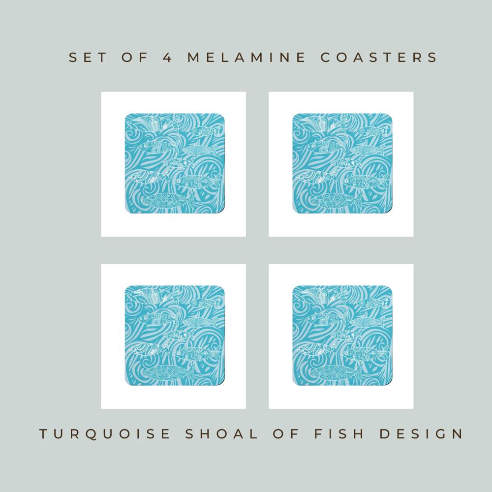 Set of 4 Coasters - Turquoise Shoal of Fish Design