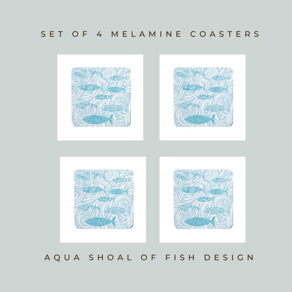Set of 4 Coasters - Aqua Shoal of Fish Design
