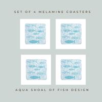 4  Shoal of Fish Coasters - Aqua Melamine - Seaside Vibes