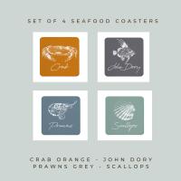 4 Seafood Coasters - Melamine - Crab, John Dory, Prawns & Scallops