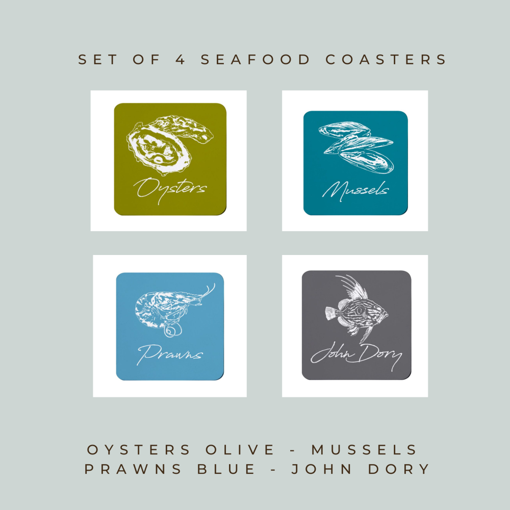 Set of 4 Coasters - Seafood - Oyster, Mussels, Prawns, John Dory