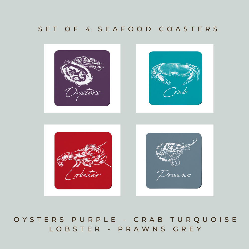 Set of 4 Coasters - Seafood - Oysters, Crab, Lobster, Prawns