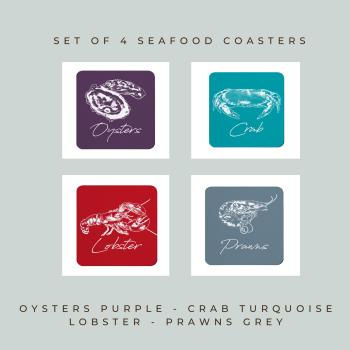 4 Seafood Coasters - Melamine - Oysters, Crab, Lobster & Prawns