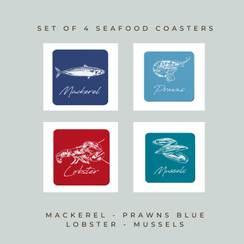4 Seafood Coasters - Melamine - Mackerel, Prawns, Lobster & Mussels