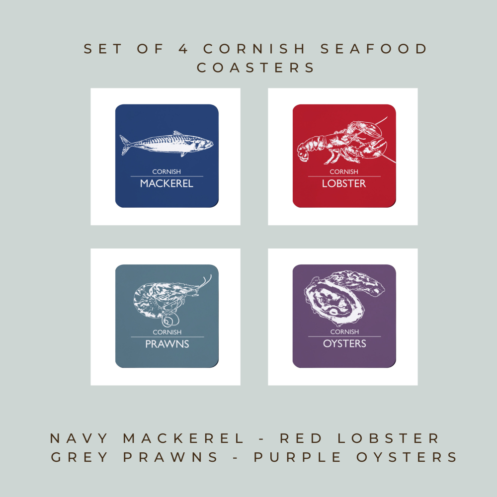 Set of 4 Coasters - Cornwall Seafood - Mackerel, Lobster, Prawns & Oysters