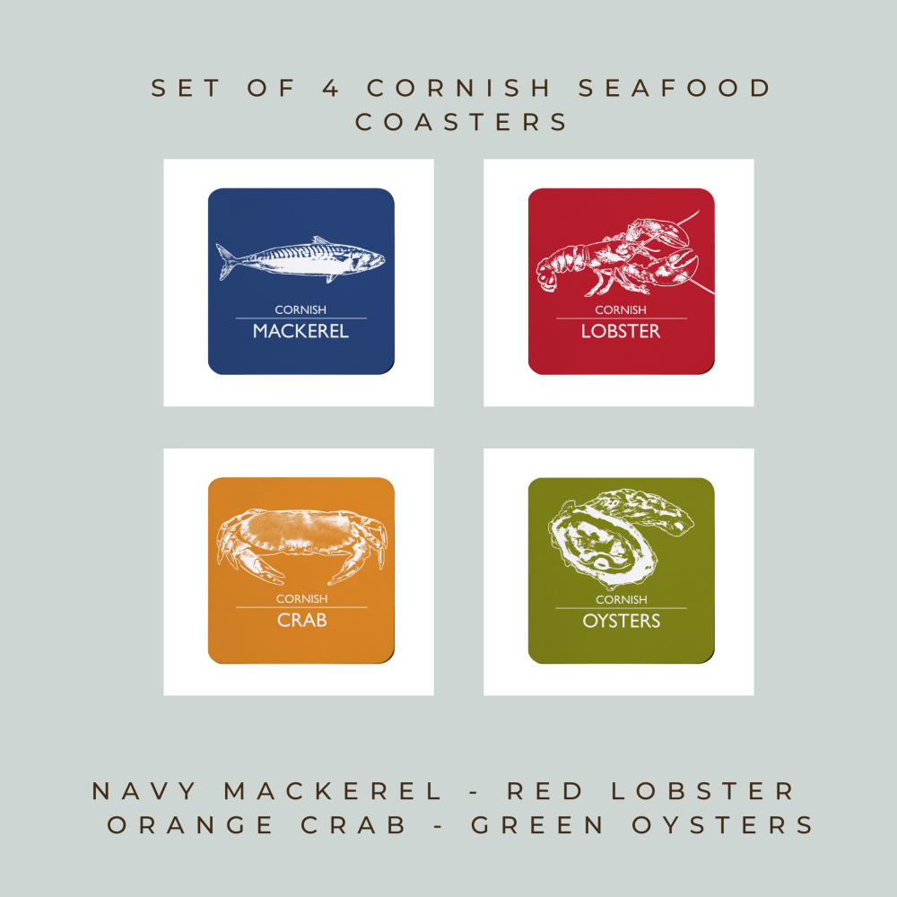 Set of 4 Coasters - Cornwall Seafood - Mackerel, Lobster, Crab & Oysters