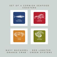 4 Cornish Seafood Coasters - Mackerel, Lobster, Crab & Oysters