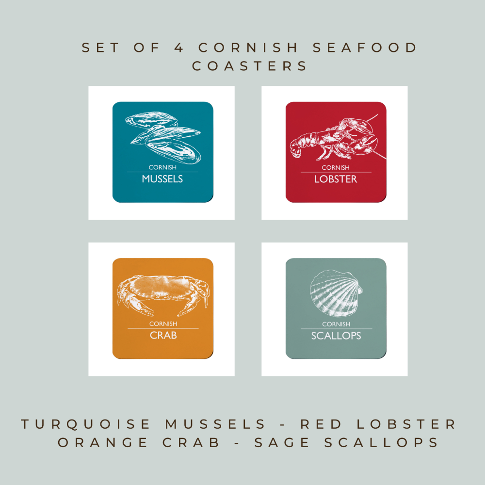 Set of 4 Coasters - Cornwall Seafood - Mussels, Lobster, Crab & Scallops
