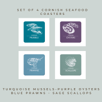 4 Cornish Seafood Coasters - Mussels, Oysters, Prawns & Scallops