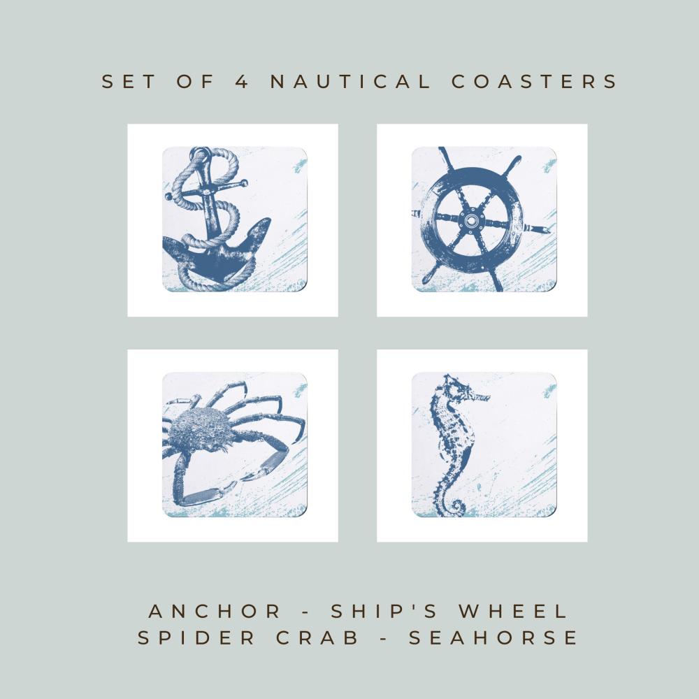Set of 4 Nautical Style Coasters