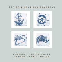 4 Nautical Coasters - Blue & White Melamine - Coastal Style