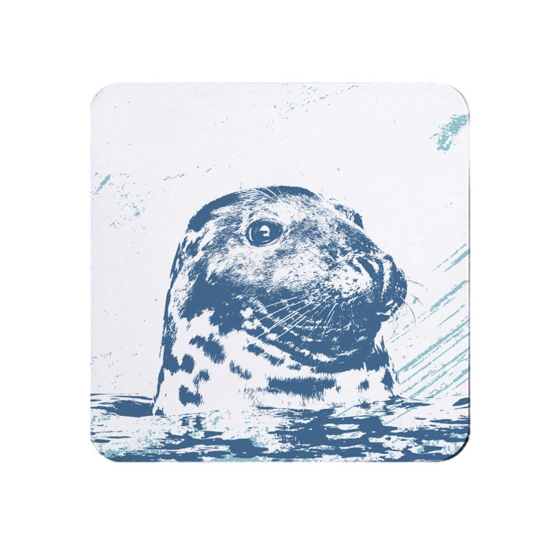 Blue and White Grey Seal Coaster - Nautical Style