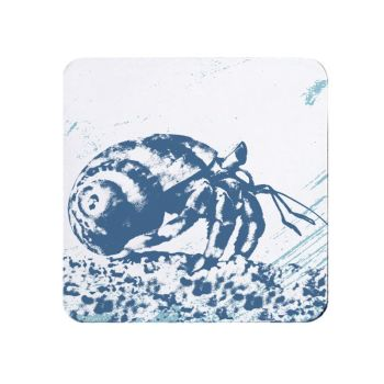 Blue and White Hermit Crab Coaster - Nautical Style