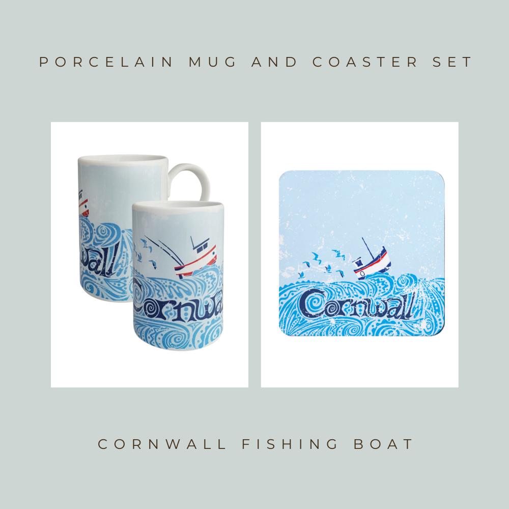 Coaster and Mug Gift - Cornwall Fishing Boat