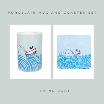 Porcelain Mug & Coaster - Fishing Boat