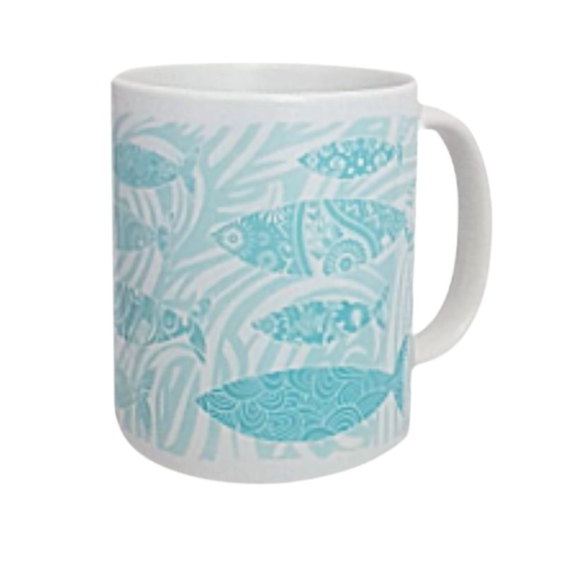 Beautiful Ceramic Mug - Shoal of Fish Design - Aqua