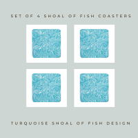 Set of 4 Coasters - Dark Shoal of Fish