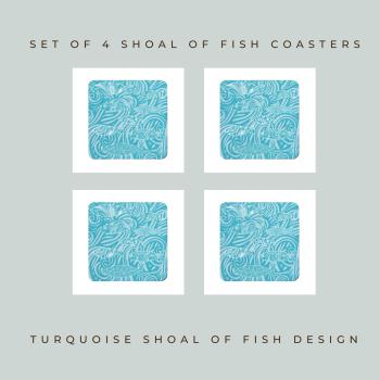 Set of 4 Coasters - Dark Shoal of Fish