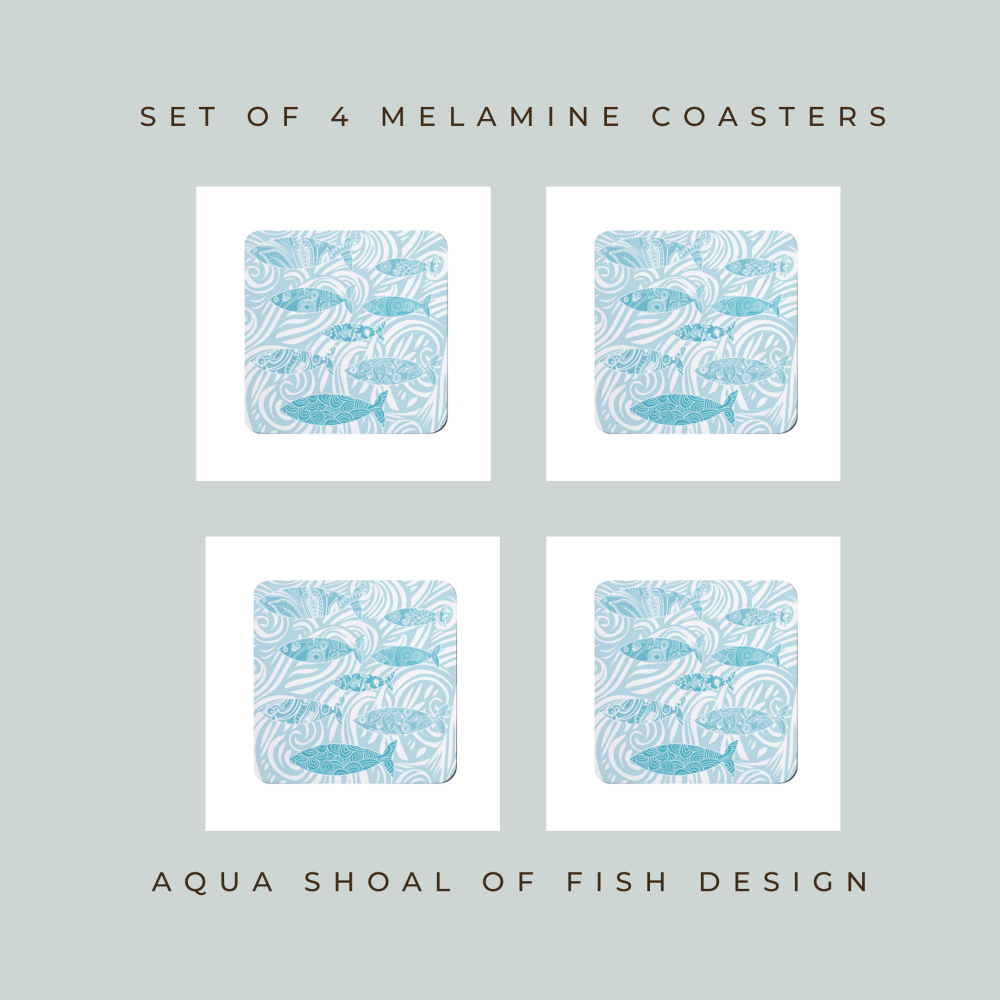 Set of 4 Coasters - Pale Shoal of Fish