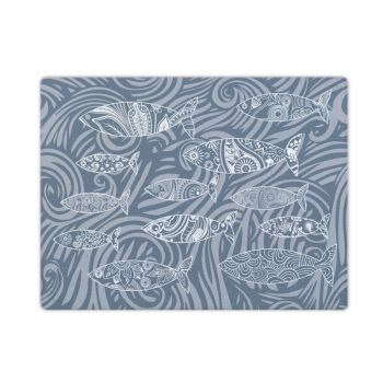 Smooth Glass Surface Protector - Dark Grey Shoal of Fish Design