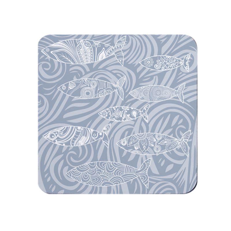 Shoal of Fish Coaster - Pale Grey