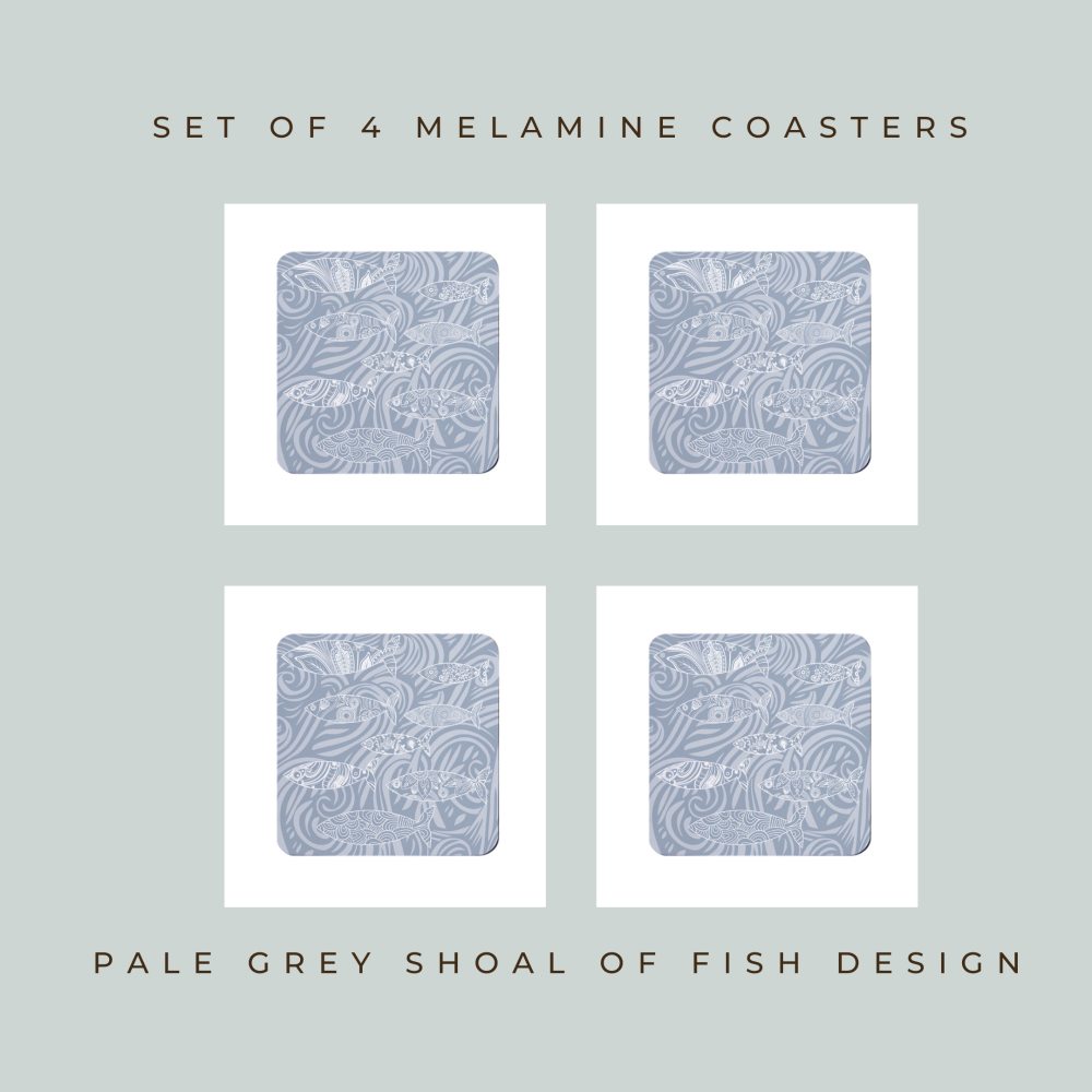 Set of 4 Coasters - Pale Grey Shoal of Fish Design