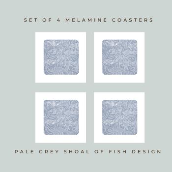 4 Shoal of Fish Coasters - Grey Melamine - Ocean Vibes