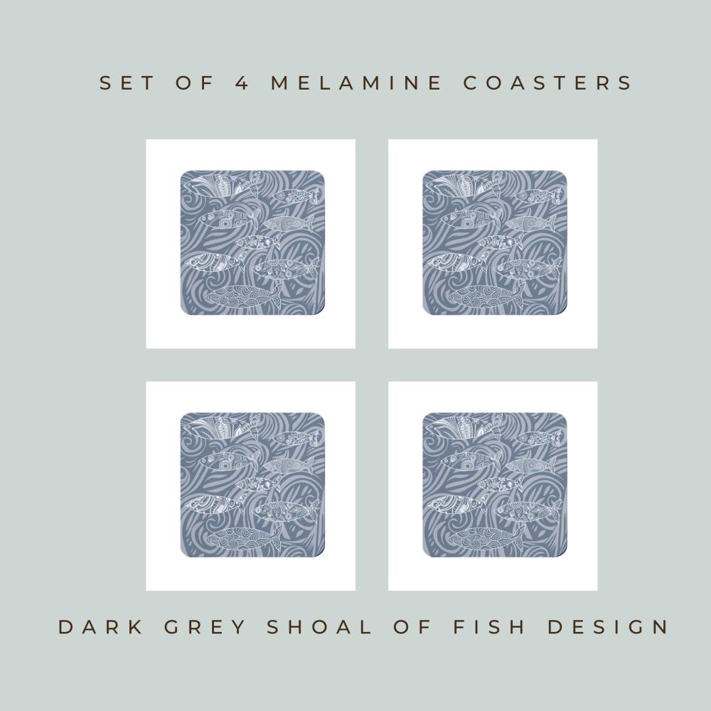 Set of 4 Coasters - Dark Grey Shoal of Fish Design