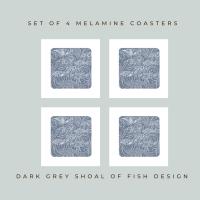 4 Shoal of Fish Coasters - Grey Melamine - Coastal Vibes