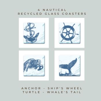 4 Glass Coasters - Nautical - Anchor, Wheel, Turtle & Whale Tail