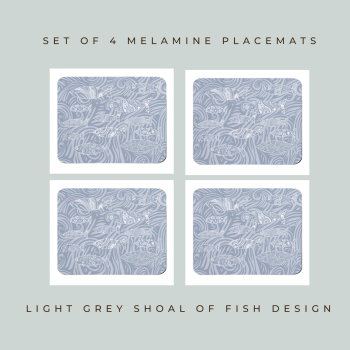 Shoal of Fish Placemats - Light Grey - Coastal Style