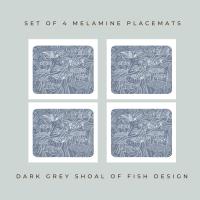 Shoal of Fish Placemats - Dark Grey - Coastal Style