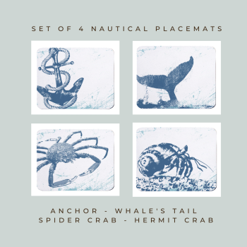 4 Placemats - Anchor, Whale's Tail, Spider Crab, Hermit Crab - Nautical Style