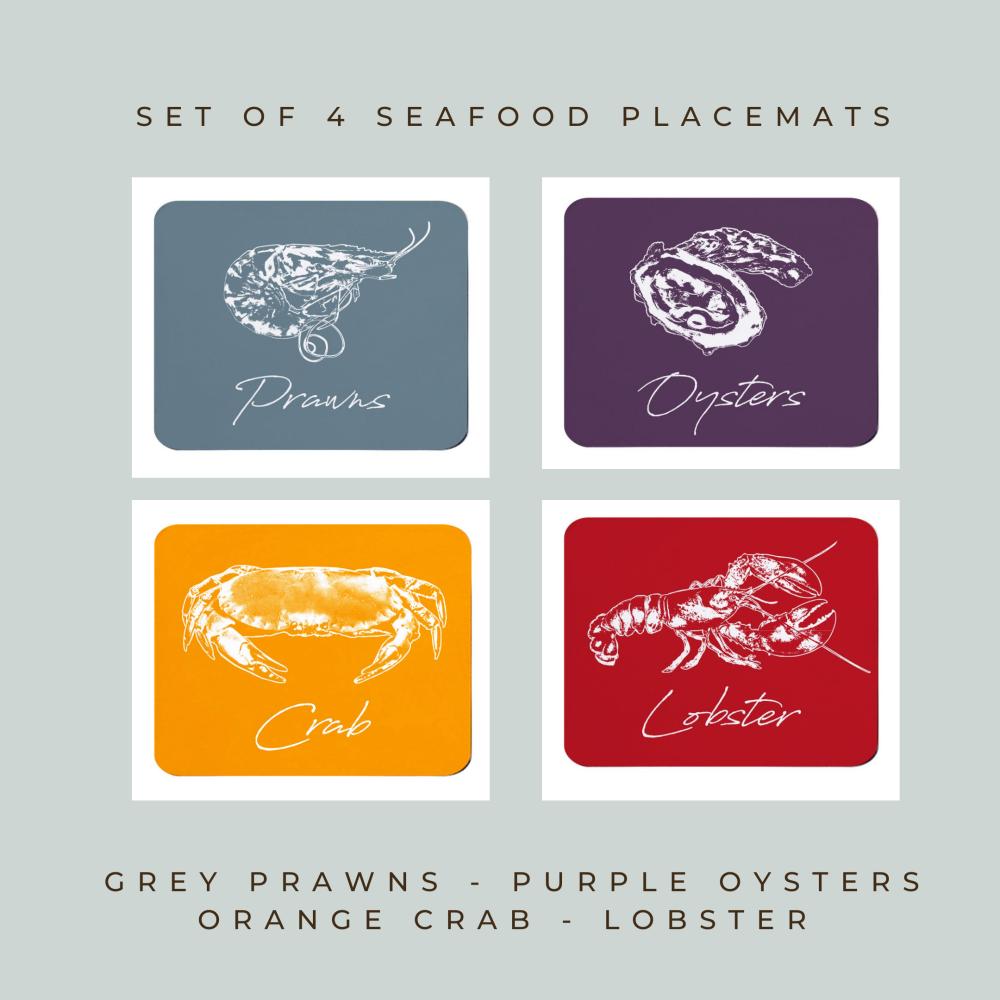 4 Seafood Placemats - Full Colour Melamine - Coastal Style