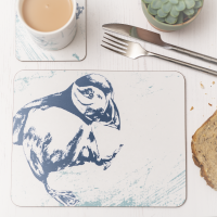 Puffin Placemat - Blue & White Melamine - Nautical Style