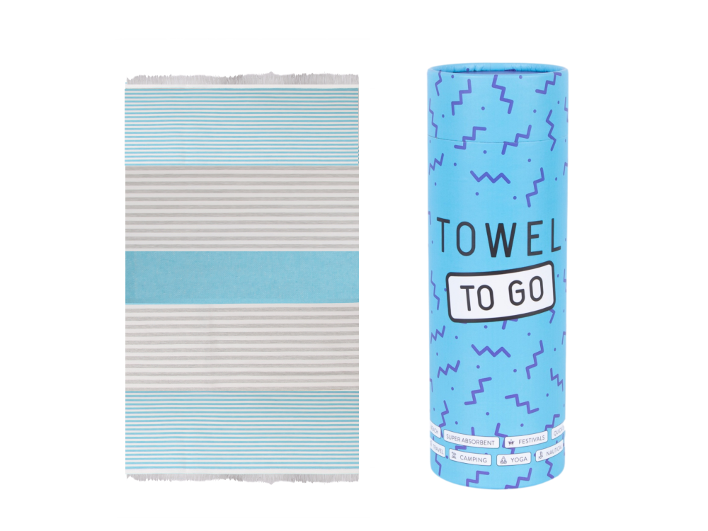 Bali Hammam Towel - Turquoise and Grey