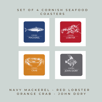 4 Cornish Seafood Coasters - Mackerel, Lobster, Crab & John Dory