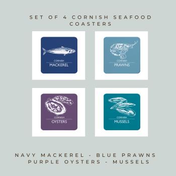 4 Cornish Seafood Coasters - Mackerel, Prawns, Oysters & Mussels