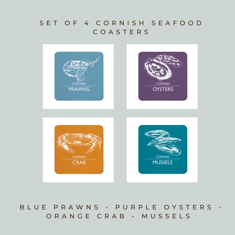 4 Cornish Seafood Coasters - Prawns, Oysters, Crab & Mussels