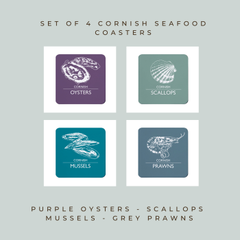 4 Cornish Seafood Coasters - Oysters, Scallops, Mussels & Prawns