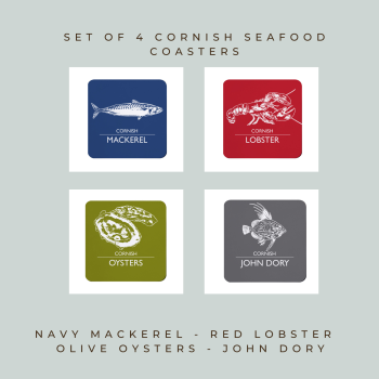 4 Cornish Seafood Coasters - Mackerel, Lobster, Oysters & John Dory