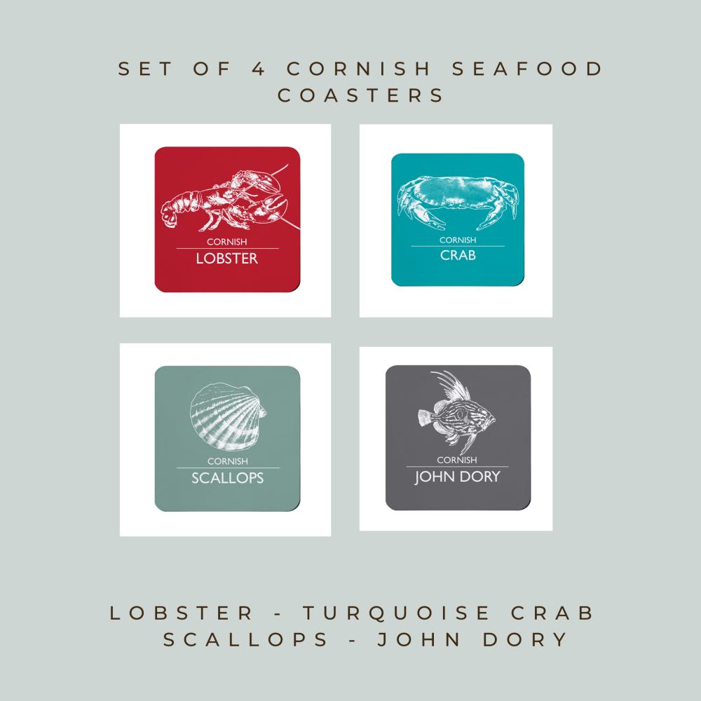 4 Cornish Seafood Coasters - Lobster, Crab, Scallops & John Dory